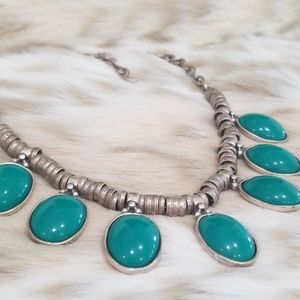 Vintage Resin Cabochon Statement Necklace